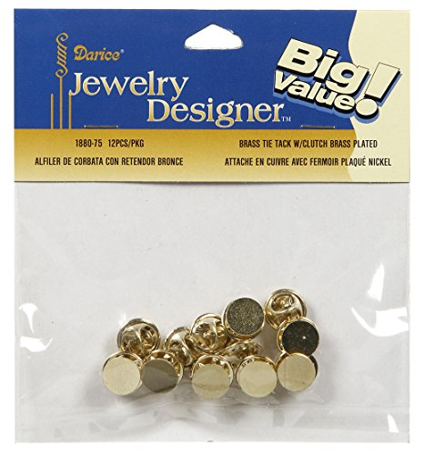 Darice 12 Piece Brass Tie Tack with Clutch, 10 mm -