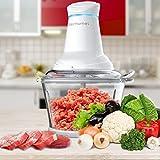 Elechomes Meat Grinders Electric Food Processor Vegetable Chopper with Glass Bowl, Kitchen Food Chopper Blender Mincer 1.8L