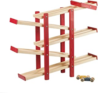 product image for DutchCrafters Amish Wooden Switchback Car Racer (Red/Maple)