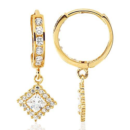 14K Yellow Gold CZ Half Eternity with Diamond Drop Small Huggie Hoop Earrings