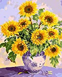 """Wooden Framed Paint by Numbers DIY Acrylic Painting Kit for Kids & Adults by iCoostor – 16"""" x 20"""" Beautiful Sunflower Pattern with 3 Brushes & Bright Colors"""