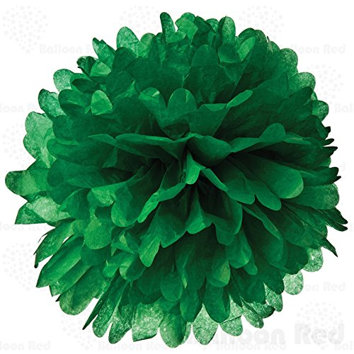 [18 Inch Tissue Paper Flower Pom Poms, Pack of 5, Green] (Homemade Costumes With Black Dress)