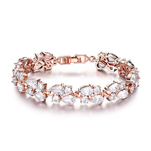 GULICX Women's Crystal Cubic Zirconia Rose Gold Plated Vintage Style Dual Layer Pear Drop Bracelet 7.5