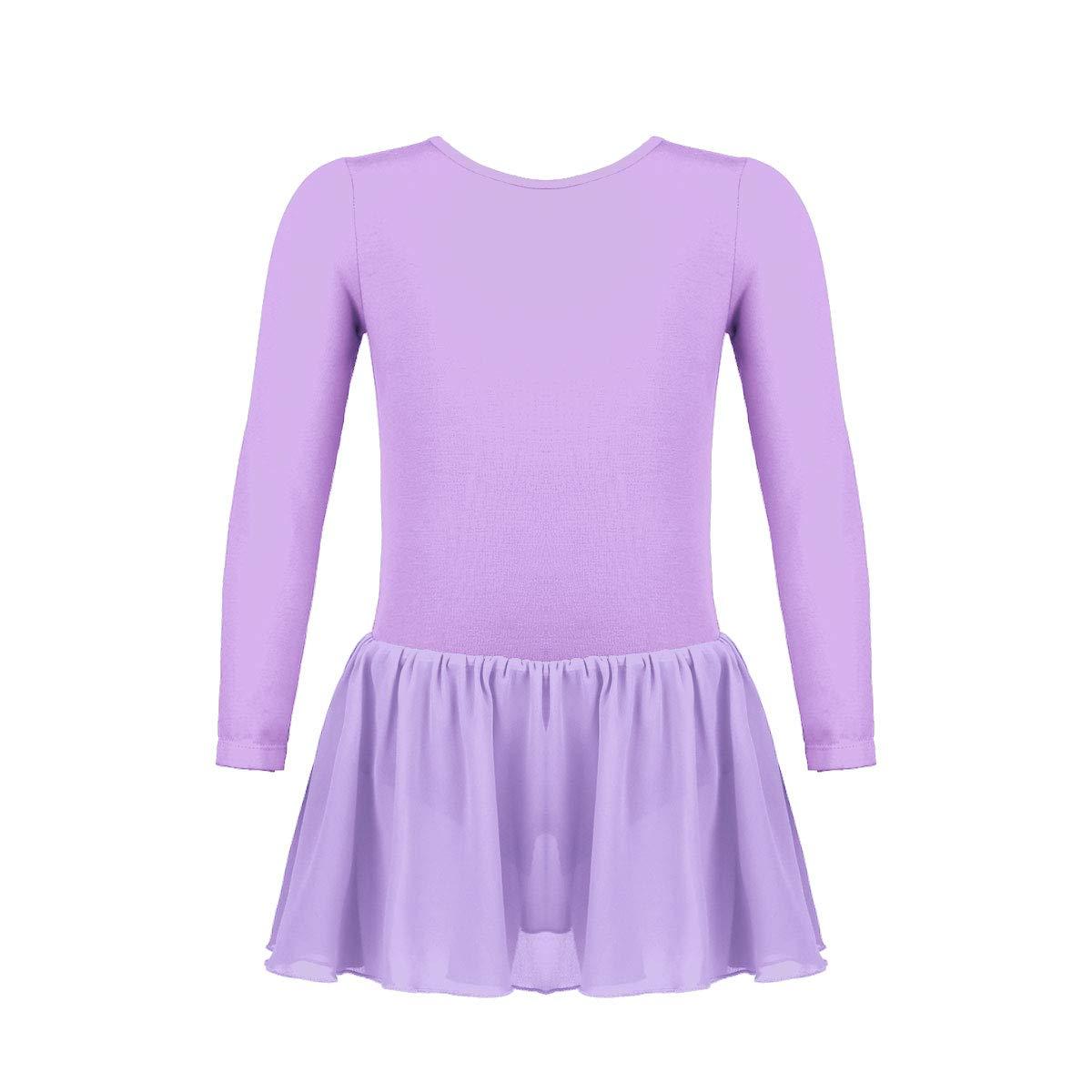iixpin Robe Ballet Fille Robe de Danse Classique Tutu Ballet Léotard Justaucorps de Danse Gymnastique Manches Longues Robe de Patinage