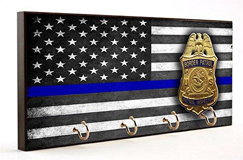 Thin Blue Line Border Patrol Inspector Design Dog Leash and Key Hanger