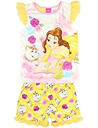 Disney Princess Belle Beauty and The Beast Girls 2-Piece Shorts Pajama Set