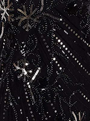 Vijiv Womens Vintage 1920s V Neck Flapper Dress Sequin Beaded Irregular Long Evening Dresses
