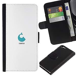 KLONGSHOP // Tirón de la caja Cartera de cuero con ranuras para tarjetas - logotipo de la ballena azul - Apple Iphone 6 //