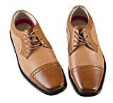 Boys Brown Lace Up Dress Shoe with Two Toned Accents (Boys 3)