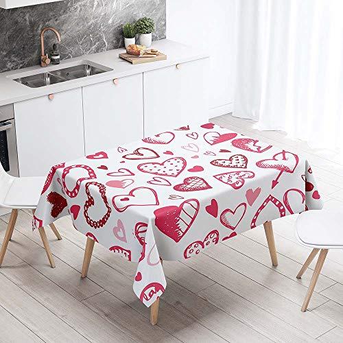 Chickwin Mantel para Mesa Impermeable Antimanchas, Estilo Nordico Romantico Cocina Comedor Rectangular Resistente al Desgaste Lavable Mantel de Poliester (Corazon,140x220cm)