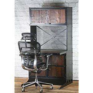 Vintage Industrial Desk/Workstation, Rustic, Reclaimed Wood Computer Desk, Reclaimed Wood Desk, Office Desk with Hutch…