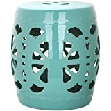 Safavieh Castle Gardens Collection Stencil Blossom Aqua Glazed Ceramic Garden Stool