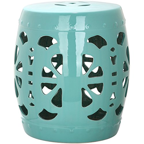 (Safavieh Castle Gardens Collection Stencil Blossom Aqua Glazed Ceramic Garden Stool)