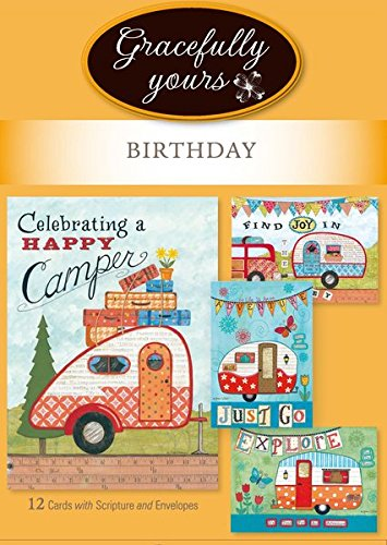 Gracefully Yours Happy Camper Birthday Greeting Cards, 12, 4 designs/3 each with Scripture - Directions Of America Mall