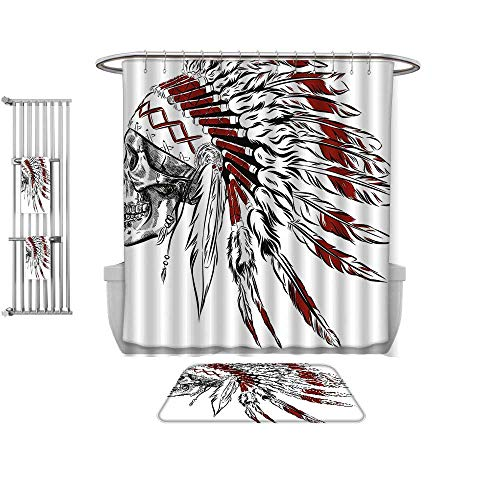 QINYAN-Home Shower Curtain Set-Native American Hand Drawn Ethnic Feather Headdress with Human Skull Vintage Art Burgundy Black White, Shower Curtain and Floor mat Set-Multiple Sizes