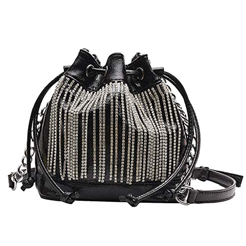 Women's Fashion Tassel Bucket Bag Rhinestone Fringed Shoulder Bag Lace-Up Chain Crossbody Bag Ladies Messenger Bag SIN+MON