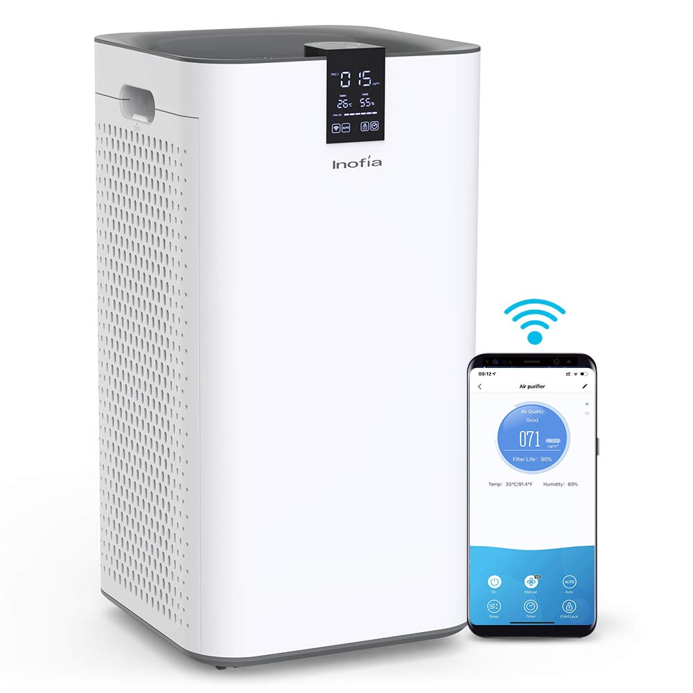 Inofia Air Purifier with True HEPA Air Filter, Wi-Fi Intelligent Control, Air Cleaner for Large Room, for Spaces Up to 1300 Sq Ft, Perfect for Home Office with 2 Filters White.