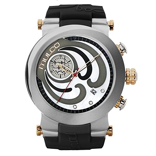 Mulco Be Original Quartz Chronograph Movement Women's Watch | Premium Mother of Pearl and Swarovski Sundial Mother of Pearl Accents | Black Band | Water Resistant Stainless Steel Watch - Sundial Golf