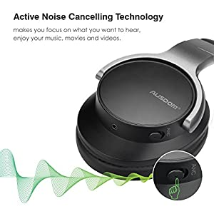 AUSDOM ANC8 Active Noise Cancelling Bluetooth Headphones, Wireless Over-Ear Headset with Super HiFi, Comfortable Protein Earpad, Built-in Microphone and 20 Hours Playtime (Update)