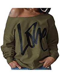 Generic Woman¡¯s Sweatershirt Print Causal Offer The Shoulder Slouchy Pullover