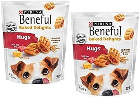 Purina Beneful Baked Delights Hugs Dog Treats – 8.5 oz. Pouch, Pack of 2