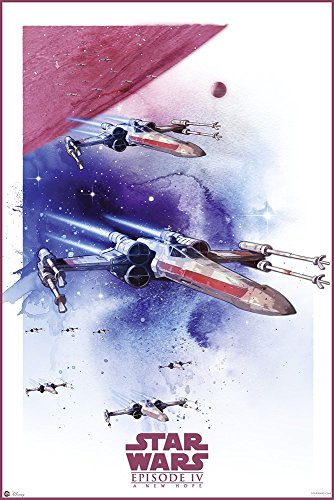 Star Wars: Episode IV - A New Hope - Movie Poster/Print (Space Battle/Watercolor Art) (Size: 24 inches x 36 inches)