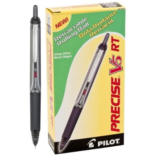 Pilot Precise V5RT Retractable Roller Ball Pen, Ink, .5mm, Pack of 12, Black (26062)