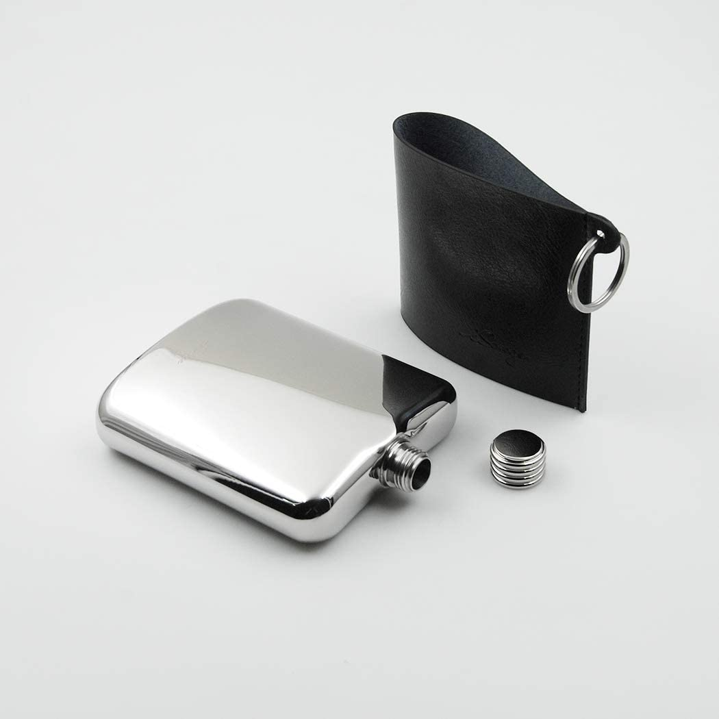 iSavage 6oz Mirror Finished Hip Flask with a Detachable Leather Pouch-YM606