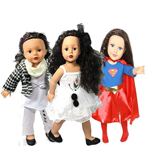 Arianna 18-inch Doll Clothes | 11pcs Value Bundle – Set of 3 Outfits Shoes | Supergirl 4pcs Costume | Olaf 2pc Dress | Infinity 4pcs Pant Outfit | Black Glitter Shoes -
