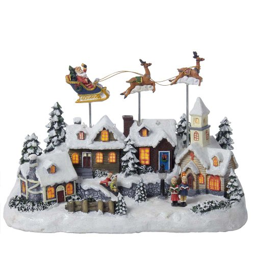Christmas Villages - Kurt Adler Battery Operated Musical LED Village with Santa and Deer, 11-Inch