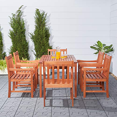 (Malibu V98SET12 Eco-Friendly 7 Piece Wood Outdoor Dining Set with Slatted Back)
