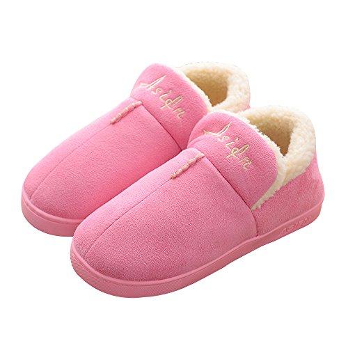 Hiver Couleur Antidérapante Femme Chaleur 1 Couple Unie Chaussures Accueil En Pantoufles Coton YASHANG TAq0dS0