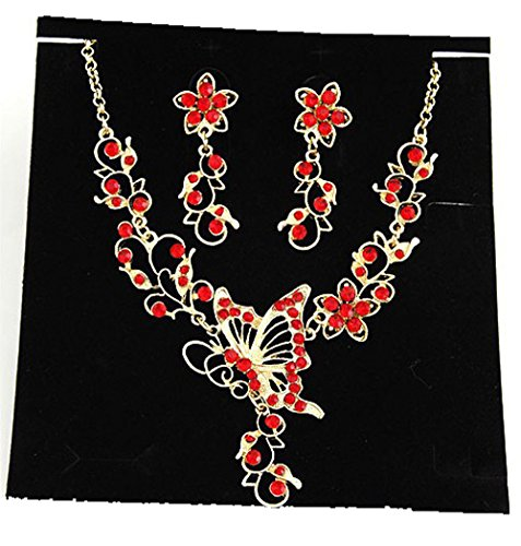 - Grenf Fashion Prom Wedding Bridal Jewelry Sets Exotic Multi-Colored Enamel Butterfly Flower Necklace with Stud Earring 4 Colors (Butterfly Flower - Red)