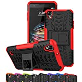 LG Tribute HD Case, LG X Style Case, LG Volt 3 Case, Ueokeird Hybrid Dual Layer Armor Protective Phone Case Cover with kickstand for LG X Style / Volt 3 / Tribute HD (red)