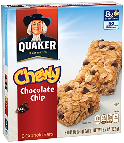 Quaker Chewy Granola Bar, Chocolate Chip, Snack Bars, 8 Bars Per Box (Pack of 12 Boxes)(Packaging may vary) (Chocolate Chewy Oatmeal Chip)
