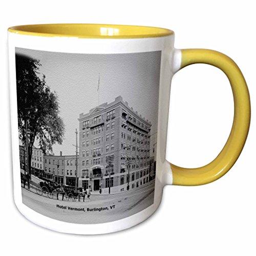 3dRose Sandy Mertens Vermont - Hotel Vermont, Burlington, VT (Vintage to 1906) - 11oz Two-Tone Yellow Mug - Burlington Vermont Outlet