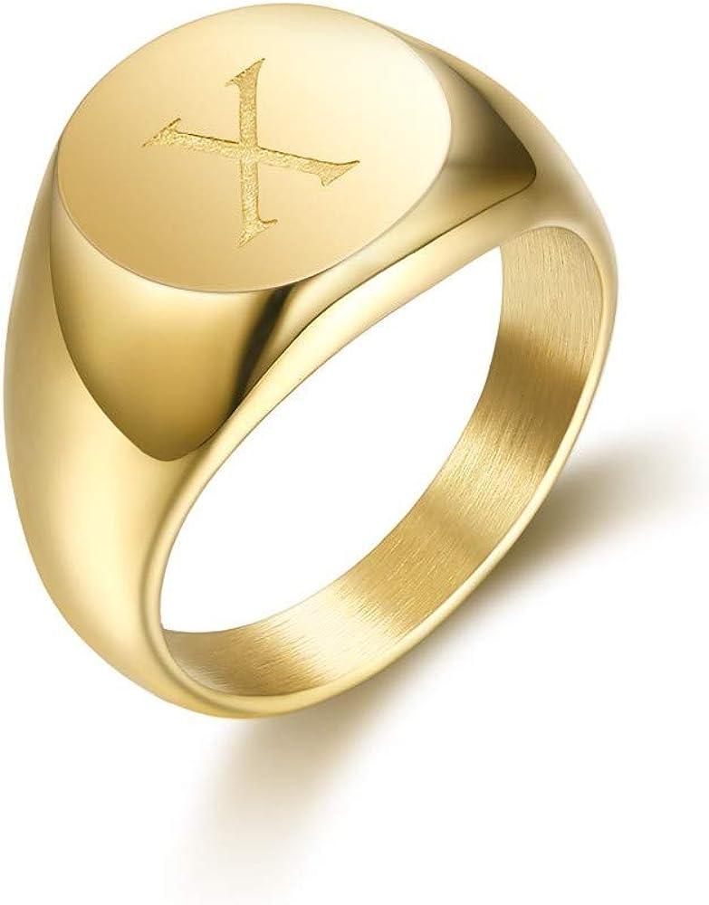 Anillo Anillo de Mujer Inicial est/á Grabado en la Elecci/ón Inoxidable Chapado en Oro de Acero de 10mm BOBIJOO Jewelry