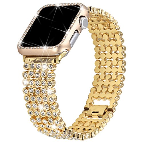 Rhinestones Bands with Diamond Face Cover for Women Men, Falandi Bling Stainless Steel Replacement Wristband for Apple Watch Series 3, Series 2, Series 1, iWatch Nike+ Sport Edition (Gold, 42mm) ()