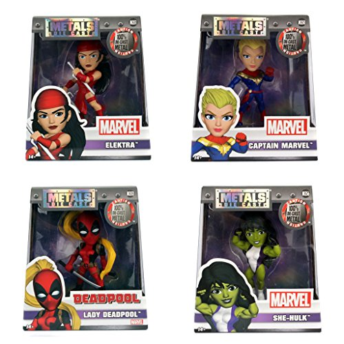 """Jada Diecast Marvel Girls 4"""" Metal Bundle Set Captain Marvel, Lady Deadpool, She-Hulk, Elektra"""