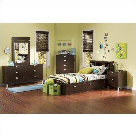 Kids Twin 4 Piece Bedroom Set with Bookcase Headboard in Chocolate by South Shore