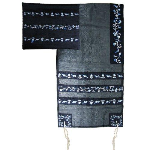 Yair Emanuel Blue Stripes Floral Design Organza Tallit Set 20'' W X 75'' L by Yair Emanuel