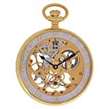 Regent Hills Vintage Brass Case Open Face Mechanical Skeleton Pocket Watch With Chain 6473GP-CG(BK)