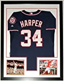 Bryce Harper Signed Authentic Washington Nationals Jersey - JSA COA Authenticated- Custom Framed & 2 8x10 Photo 34x42