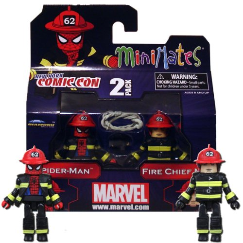 Diamond Select Toys Marvel Minimates NYCC 2011 New York Comic Con Exclusive 2Pack SpiderMan Fire Chief (Comic Con Characters)