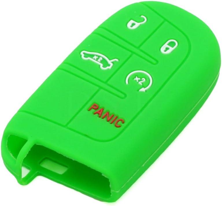 SEGADEN Silicone Cover Protector Case Holder Skin Jacket Compatible with DODGE CHRYSLER 5 Button Smart Remote Key Fob CV4750 Rose