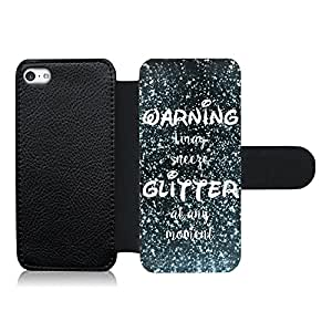 Funda carcasa de cuero para Apple iPhone 5C frase warning i may sneeze glitter at any moment efecto purpurina azul