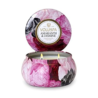 Voluspa Amaranth & Jasmine Maison Jardin 2 Wick Candle in Tin 11 oz