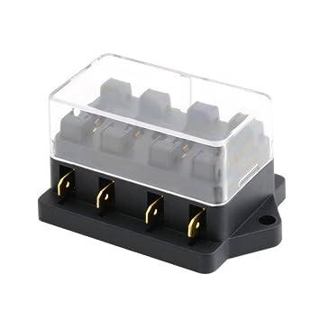 Mintice/™ 4-Fach Sicherungstr/äger Sicherungshalter ATO ATC KFZ Sicherungskasten Flachsicherungen Sicherungsdose