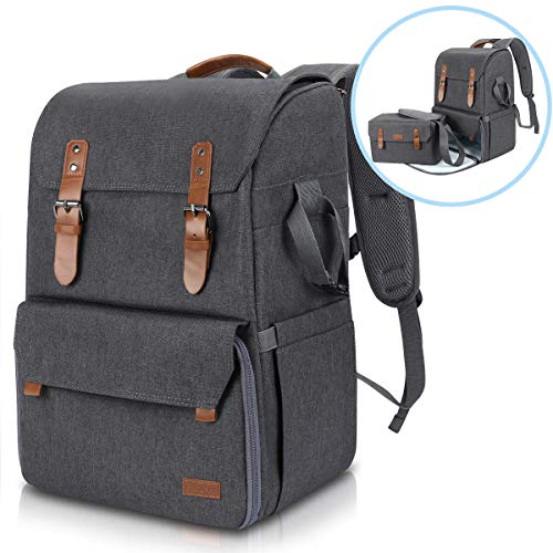 Endurax Waterproof Camera Backpack Vintage Camera Bag with Laptop Compartment for 15.6 Inch Laptop DSLR Camera 3 Lenns and Tripod, Separated SLR Camera Shoulder Bag Included