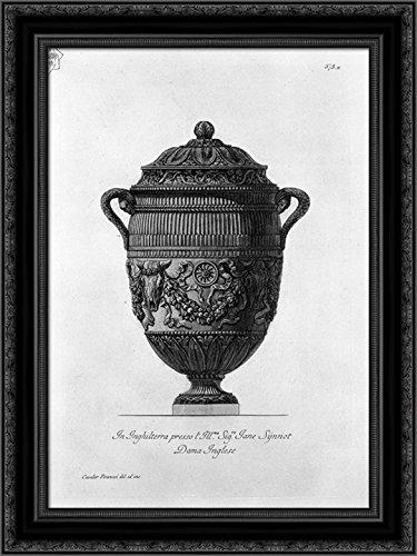 Piranesi Vase - Antique vase of marble decorated with ox skulls and garlands 20x24 Black Ornate Wood Framed Canvas Art by Piranesi, Giovanni Battista